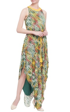 multicolored printed asymmetric maxi dress