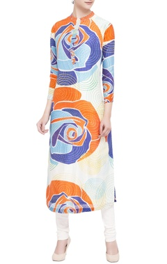 multicolored chanderi abstract printed kurta