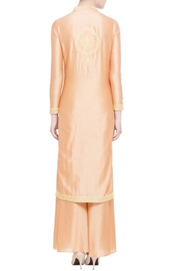 Peach silk chanderi embellished kurta set