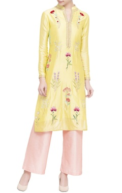 yellow & pink silk chanderi embroidered kurta set