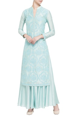 Light blue silk chanderi embellished kurta set