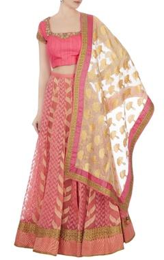 rose pink tulle embellished lehenga set
