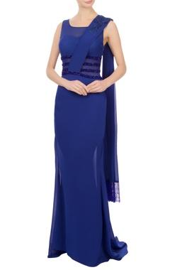 navy blue georgette embellished maxi dress