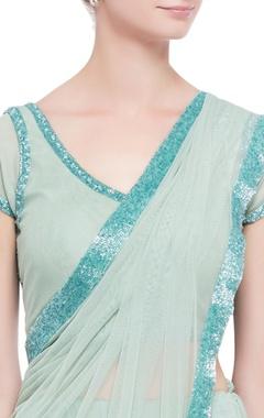 powder blue embellished sari with blouse