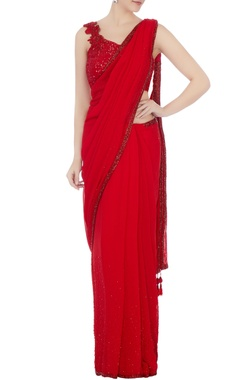 red georgette & tulle embellished sari with stylised blouse