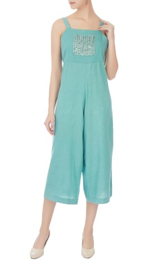 turquoise green button embellished jumpsuit