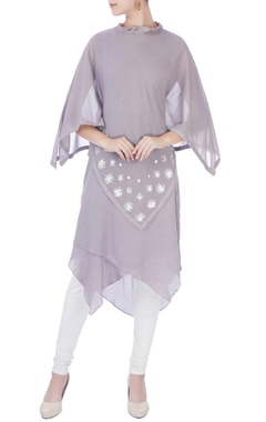 grey asymmetric kurta with cape