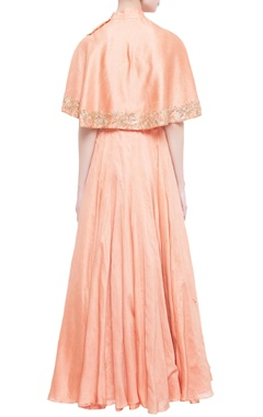 coral lycra cape layered evening gown