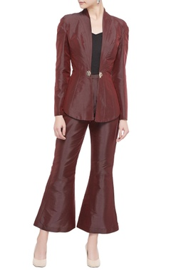 maroon cotton satin & santoon jacket with flared pants