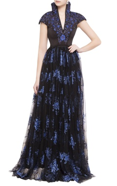 black & navy blue embroidered net gown