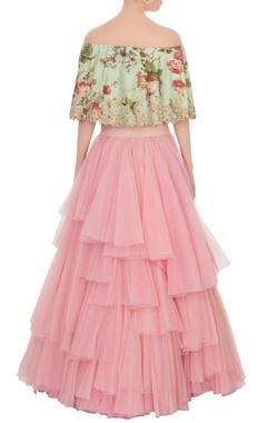 Pink frilly net lehenga & blouse