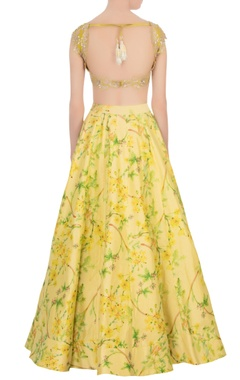 yellow floral lehenga with blouse & dupatta
