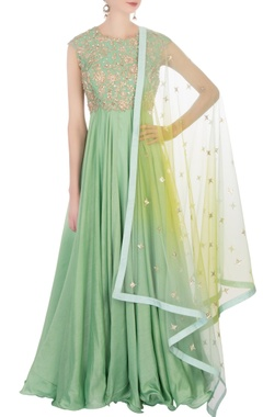 Sea green embellished anarkali set