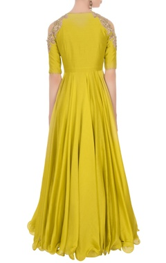 Mustard yellow cold shoulder anarkali set