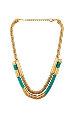 Turquoise blue & gold embellished princess necklace