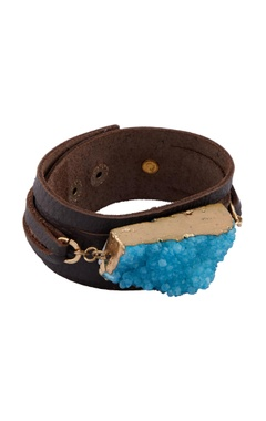 Brown and turquoise blue stone embellished bracelet