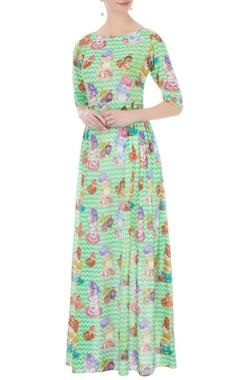green linen satin printed dress