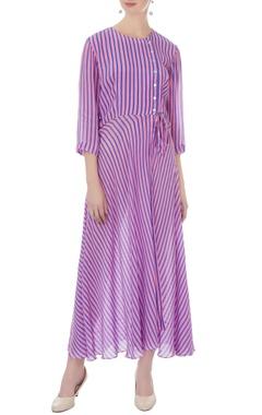 purple crepe striped maxi dress