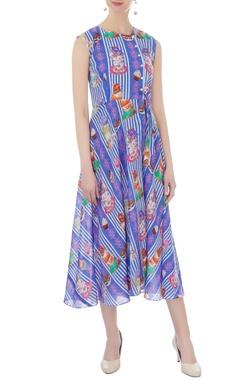 blue linen satin printed maxi dress