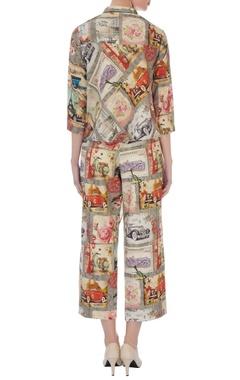 grey khadi cotton printed jacket with pants