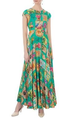 turquoise twill satin printed maxi dress