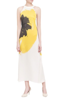 ivory abstract printed georgette maxi dress
