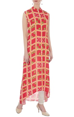 coral double georgette printed tunic