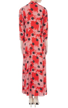 powder pink double georgette printed dress