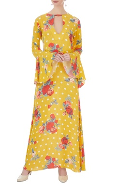 yellow double georgette printed maxi dress