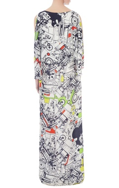 white double georgette printed maxi dress