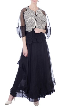 Kavita Bhartia Black layered organza maxi skirt