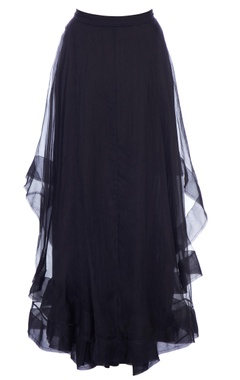 Black layered organza maxi skirt