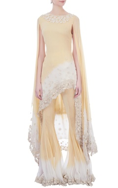 cream & white ombre embroidered border gharara pants