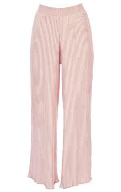 pale pink pleated high waist pants