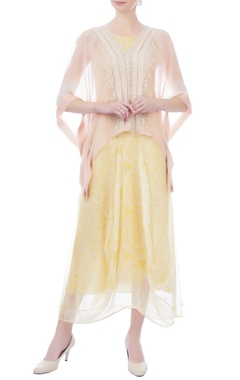 baby pink chiffon embroidered cape
