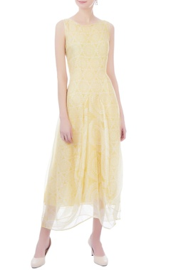 Kavita Bhartia yellow & white organza midi dress