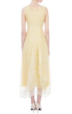 yellow & white organza midi dress