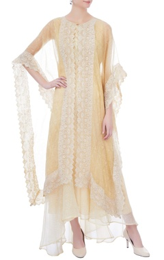 Kavita Bhartia pale yellow embroidered organza kaftan
