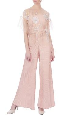 pale pink nylon net cape blouse