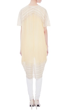 pale yellow asymmetric hemline kurta