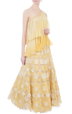 Kavita Bhartia Yellow ombre chiffon tiered style one-shoulder blouse