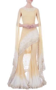 Kavita Bhartia Yellow & white chiffon cape sleeve kurta