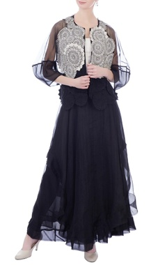 Kavita Bhartia Black sheer organza front open jacket