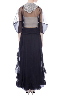 Black sheer organza front open jacket