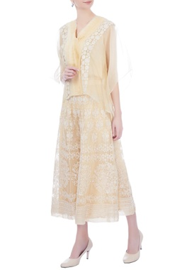 Kavita Bhartia light caramel yellow blouse with tassel threads