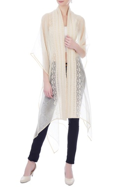 Kavita Bhartia white & beige embroidered front open cape