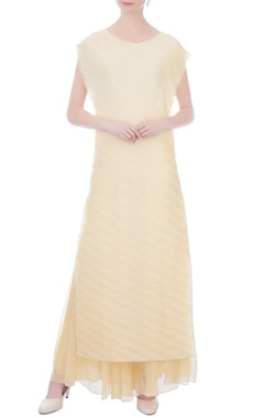 Kavita Bhartia white & yellow striped polyester long kurta