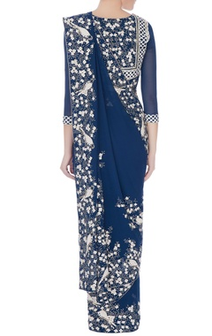 moroccan blue embroidered georgette sari with blouse