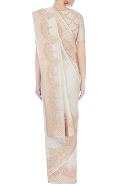 Ivory embroidered tissue chanderi sari with blouse