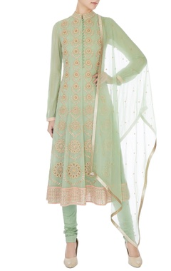 Mint green embroidered georgette a-line kurta set